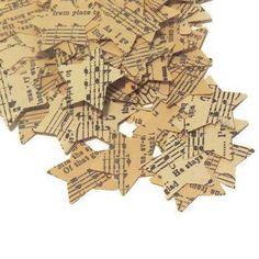 Music Themed Wedding Confetti - Vintage Sheet Music Star Confetti - 1…