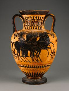 Attic Black-Figure Amphora; Unknown; Athens, Greece, Europe; about 520 B.C.; Terracotta; 43.8 cm (17 1/4 in.); 71.AE.368; J. Paul Getty Museum, Los Angeles, California