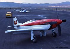 """Sun. 9/13/87-Historic archive photo portrait capture of legendary super-modified North American Aviation P-51D Mustang UNL racer~#84-""""Stiletto"""" (N332). That year, rookie race pilot~Scott Sherman qualified #84 @ 439.375-mph to snag 5th-fastest in-class that year."""