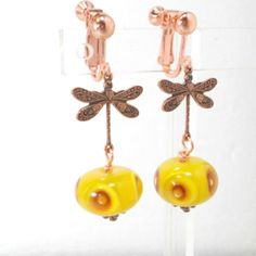 BobsFlame Beads handmade lampwork earrings dragonfly copper yellow orange #Pat2 #clipon