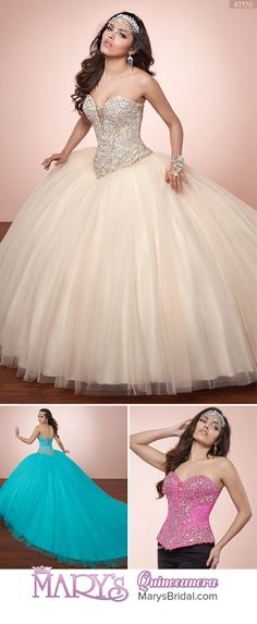 Style 4T170: 2 piece tulle quinceanera ball gown with strapless sweetheart neck line, basque waist line, beading detail, lace-up back, semi-cathedral train, and bolero.