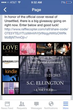 Unsettled cover reveal giveaway. Enter now via FB. Good luck and happy reading.