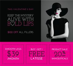 Keep the Mystery Alive with Bold Lips! February 2014 specials at Spa Trouve. #MedicalSpa #LaserHairRemoval #Latisse #SKincare