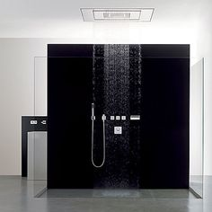 Really cool rain shower with the plain black and glass.