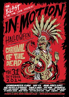Poster for The Blast Halloween Carnival of the Dead 2014 at Bristol In:Motion. Design and Illustration by Nikko Barber Tattoo and George Chandrinos aka Rote Grafik.
