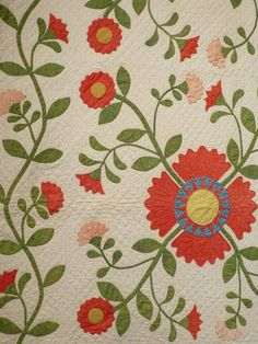 Detail of Coxcomb and Rose Applique with Pieced Sunbursts and Vine border. Third quarter of the 19th-Century.