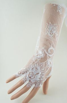 Wedding gloves white French lace long by AnitaHiltonweddings, £27.00