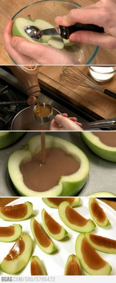 Caramel-Apple Jello Shots! Or just use water and cut out the vodka if you want to make something fun for the kids!