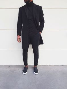 All Black Everything Style - BLVCK Fashion - Fashionboxx All Black Everything Outfit Wearing All Black, All Black Outfit, Black Outfits, Black Slip On Sneakers Outfit, Mens Slip On Sneakers, Outfits Hombre, Women's Sneakers, Sneakers Women, Mens Fashion Blog