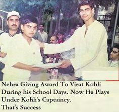 Nehra Giving Award to Virat Kohli During his School Days !! #history #historypics #images #pictures  Virat Kohli (About this sound pronunciation born 5 November 1988) is an Indian international cricketer. He is a right-handed batsman and occasional right-arm medium pace bowler. He is the current captain of the Indian team in Test cricket and vice-captain in limited overs formats. In the Indian Premier League (IPL), he captains the Royal Challengers Bangalore. Test Cricket, Rare Images, Virat Kohli, School Days, Historical Photos, Premier League, Mens Sunglasses, Baseball Cards, History