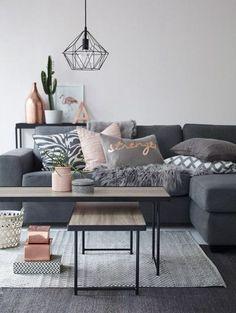 como-decorar-un-salon-sofá-gris-tonos-grises