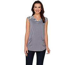 LOGO by Lori Goldstein Knit Top with Printed Chiffon Shoulder Detail