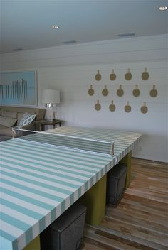 customized pool table, art grouping. Coastal Living Beach House Home Tour