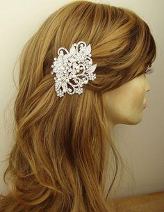 Victorian Style Bridal Hair Accessories, Pearl & Crystal Wedding Bridal Hair Comb, Art Deco Bridal Hair Accessories, GENEVA. $82.00, via Etsy.