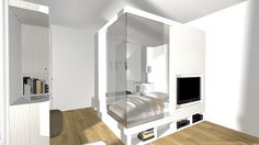 Créer un espace nuit dans un séjour Studio Apt, Small Studio, Tiny Apartments, Tiny Spaces, Surface Studio, Transforming Furniture, Couple Bedroom, Compact Living, Small Places
