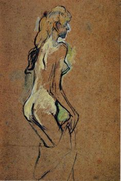 A painting by Henri de Toulouse-Lautrec, Nude Girl, 1893 Henri De Toulouse Lautrec, Pablo Picasso, Monet, French Art, Art Nouveau, Life Drawing, Van Gogh, Art History, Illustration