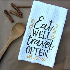 Eat Well Travel Often Microfiber Waffle Weave Kitchen Towels Drying Cloth 16inch X 24inch White