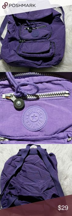 "Kipling Purple Backpack EUC  purple backpack, clean inside and outside, 12""x 15"" No monkey key- hanger,  Sorry 🐵 Bags Backpacks"