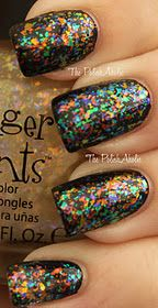 Finger Paints Flakies (Asylum, Twisted, Flecked, Molten and Flashy) layered over black.