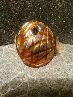Large round glass pendant with silver and honey colors #newjewlz #hempjewlz #hemp #jewelry #pendant #glass #large #round #silver #honeycolor