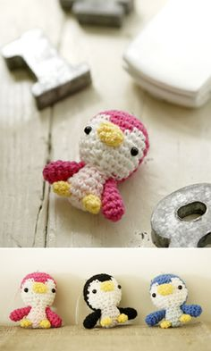This is the cutest penguin free pattern ever! :D Made one, and the result is just adorable! ♥ Pattern available in http://gosyo.co.jp/english/pattern/eHTML/ePDF/1004/amikomo3-33_Amigurumi_Penguin.pdf
