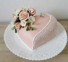 Heart Shaped Wedding Cake With Whimsical Flowers Fondant Covered