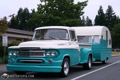 1960 Dodge Truck with vintage Tin-Can in tow.be still my heart Vintage Rv, Vintage Caravans, Vintage Travel Trailers, Vintage Trucks, Old Trucks, Vintage Campers, Fargo Truck, 1966 Chevy Truck, Dodge Pickup Trucks