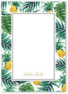 Tropical Delight Personal Stationery, Square Corners, Orange