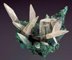 Calcite on Celadonite, Irai, Brazil