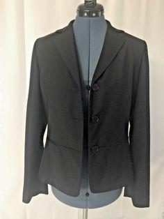 ad03b3bc2d06f Talbots Black long sleeve Button Down lined Boyfriend Blazer Wool Bl Size  10 NWT  fashion