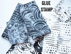 alisa burke: draw with the hot glue on craft foam, cardboard or any durable surface.  Ink it up and use as a normal stamp.