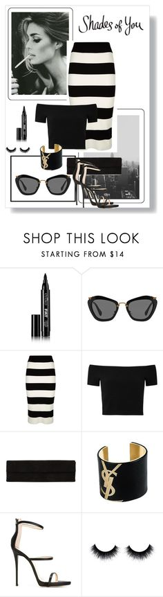 """Shades of You: Sunglass Hut Contest Entry"" by dezaval ❤ liked on Polyvore featuring Eyeko, Miu Miu, Milly, Alice + Olivia, Rick Owens, Yves Saint Laurent, Giuseppe Zanotti and shadesofyou"