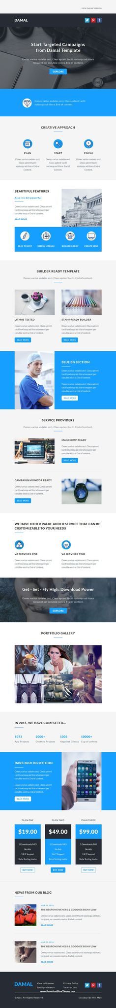 DAMAL is a multipurpose responsive #emailtemplate suitable for any kind of corporate, business, office and general category. It contains one email template and PSD file. All templates are StampReady, MailChimp & Campaign Monitor compatible. #newsletter #marketing