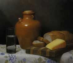 Still Life with Jug and Bread by Justin Wood