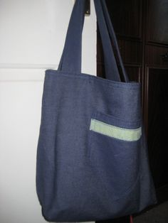 Handmade  Denim Cotton Tote Bag With Patch Pocket. £9.50, via Etsy.
