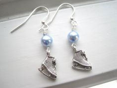 Ice Skate Earrings  Ice Skating Jewelry Winter by Sparkleandswirl, $12.00