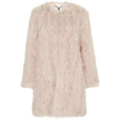 Waverton Coat by Unique ($850) ❤ liked on Polyvore featuring outerwear, coats, nude, feather coat, topshop, pink coat, fur coat and topshop coat