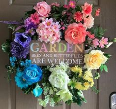 Rainbow Garden Wreath- Front Door Wreath- Floral Wreath- Spring Wreath- Summer Wreath - All About Gardens Christmas Mesh Wreaths, Deco Mesh Wreaths, Floral Wreaths, Wreaths For Front Door, Door Wreaths, Yarn Wreaths, Front Porch, Summer Wreath, Spring Wreaths