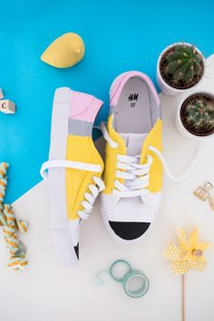 You can make a pair of pencil sneakers by upgrading basic white shoes with this style DIY project.