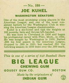 1933 Goudey #108 Joe Kuhel Back