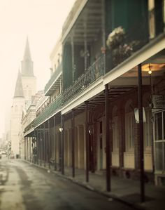 French Quarter in Spring Fog, New Orleans Photography, Urban Wall Art, Green, Muted Neutral, City Street, Rain - All Quiet in the Quarter