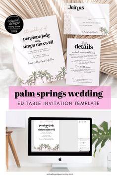 Palm Springs Wedding Invitation Set with RSVP card