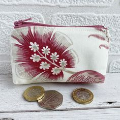 Small Purse, Coin Purse with Pink Stylised Flowers £3.50