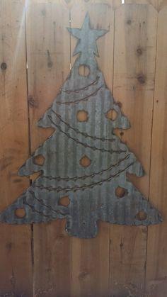 Vintage Style Corrugated Christmas Tree Metal by RockinBTradingCo