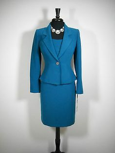 New $$$ Tahari 3pc Skirt Suit 6 Imperial Teal Business Stylish Chic | eBay