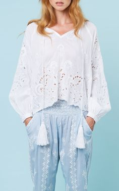 Broderie Anglaise Cotton Top by Juliet Dunn Juliet Dunn, British Indian, Ermanno Scervino, Lounge Pants, Embroidered Lace, Poplin, Tassel, Cool Designs, Basic Tops