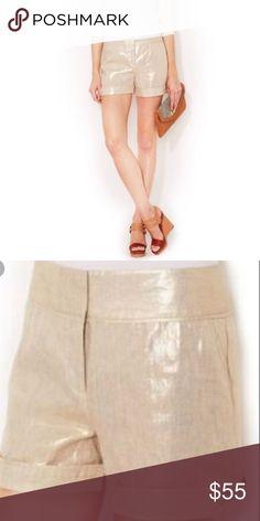 960897928fe68 Magaschoni gold linen roll cuff high waist short Magaschoni designer linen  metallic shorts with flat front