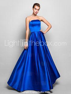 A-line Strapless Floor-length Satin Evening Dress