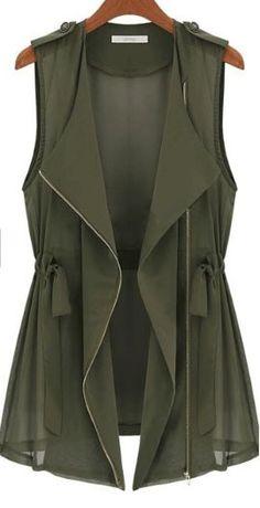 Olive zip vest