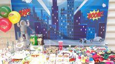 Superhero Party Setup to Make You the Hero! Thomas The Train Birthday Party, Trains Birthday Party, Superhero Birthday Party, 3rd Birthday Parties, Happy Birthday Banners, Birthday Fun, Superhero Backdrop, Superhero Party Supplies, Super Hero Costumes